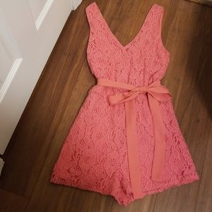 BEAUTIFUL Coral Romper with Bow